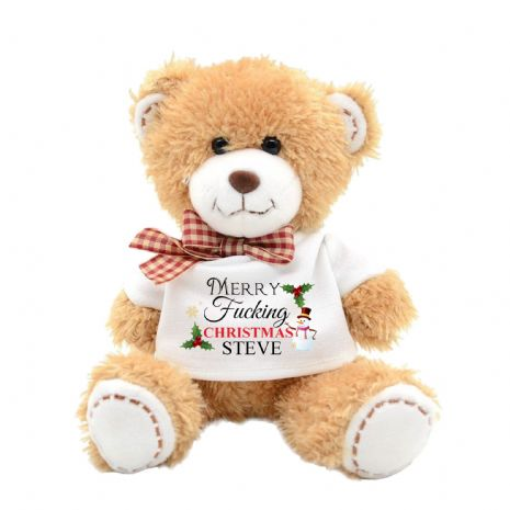 Personalised Merry F****** Christmas Swear Teddy Bear N8